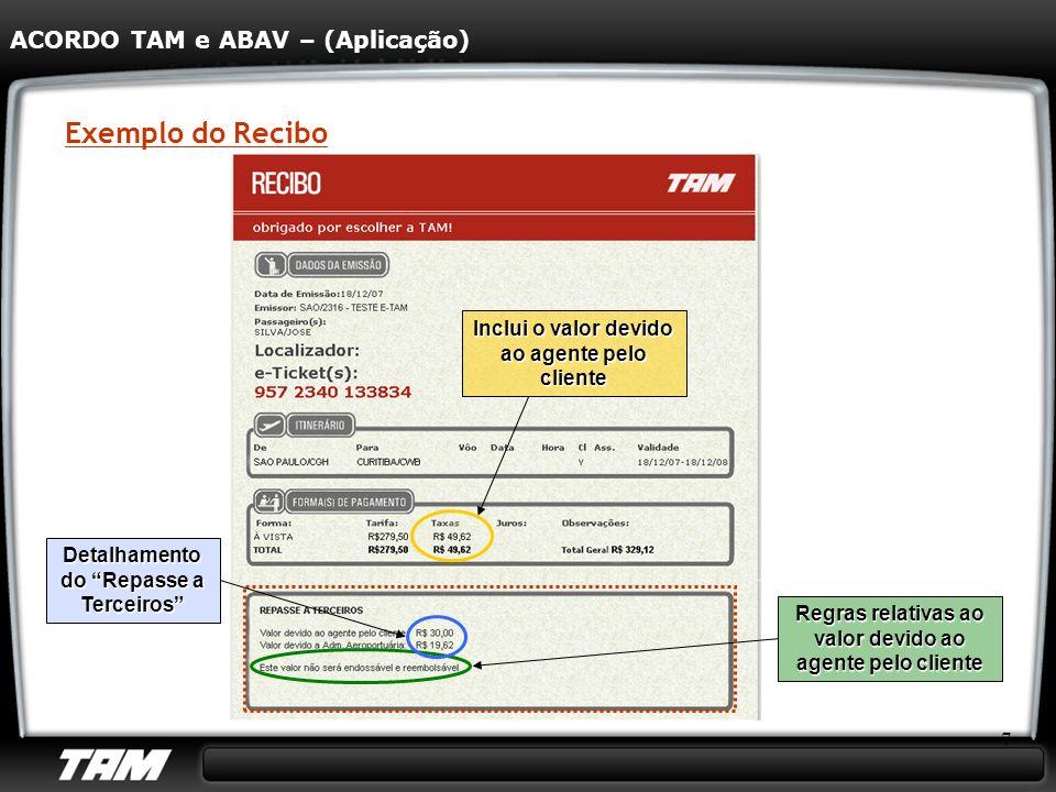 7 Exemplo do Recibo ACORDO TAM e ABAV – (Aplicação) Detalhamento do Repasse a Terceiros Inclui o valor devido ao agente pelo cliente Regras relativas