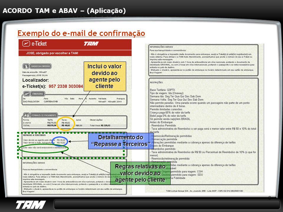 8 Exemplo do e-mail de confirmação ACORDO TAM e ABAV – (Aplicação) Inclui o valor devido ao agente pelo cliente Regras relativas ao valor devido ao ag