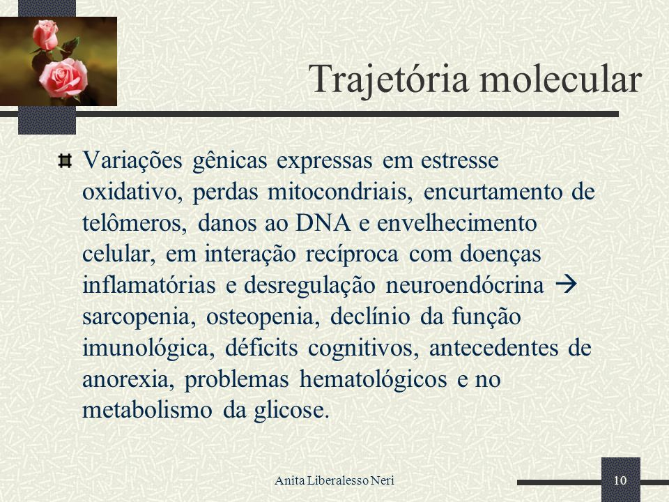 Anita Liberalesso Neri10 Trajetória molecular Variações gênicas expressas em estresse oxidativo, perdas mitocondriais, encurtamento de telômeros, danos ao DNA e envelhecimento celular, em interação recíproca com doenças inflamatórias e desregulação neuroendócrina sarcopenia, osteopenia, declínio da função imunológica, déficits cognitivos, antecedentes de anorexia, problemas hematológicos e no metabolismo da glicose.