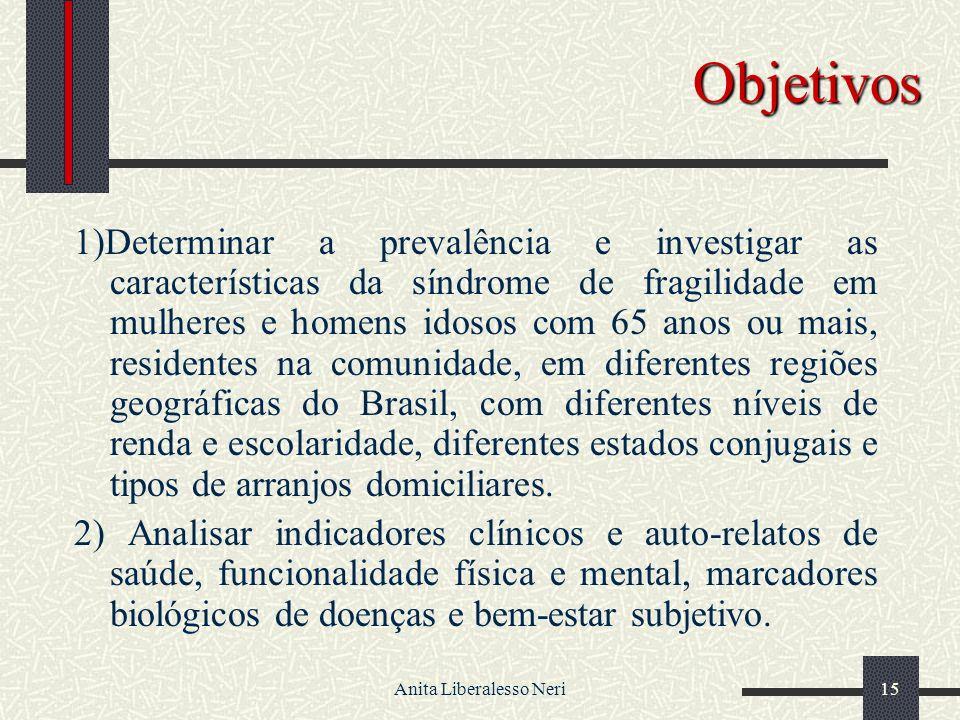 Anita Liberalesso Neri15 Objetivos 1)Determinar a prevalência e investigar as características da síndrome de fragilidade em mulheres e homens idosos com 65 anos ou mais, residentes na comunidade, em diferentes regiões geográficas do Brasil, com diferentes níveis de renda e escolaridade, diferentes estados conjugais e tipos de arranjos domiciliares.