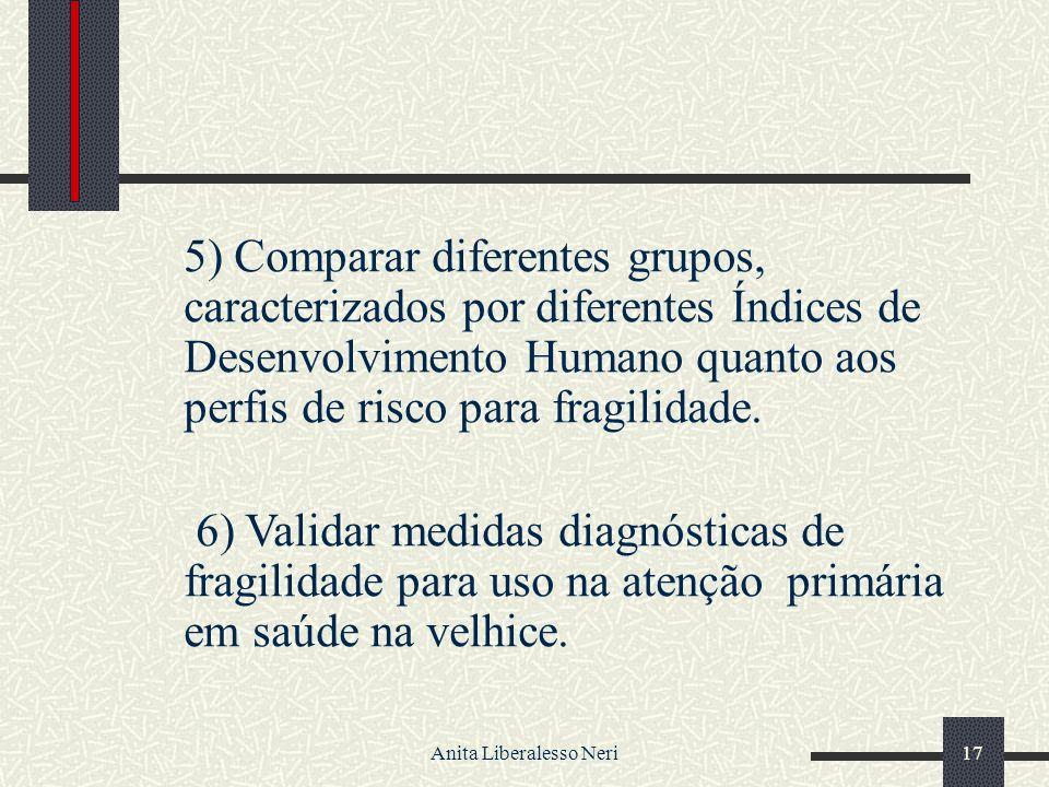Anita Liberalesso Neri17 5) Comparar diferentes grupos, caracterizados por diferentes Índices de Desenvolvimento Humano quanto aos perfis de risco para fragilidade.