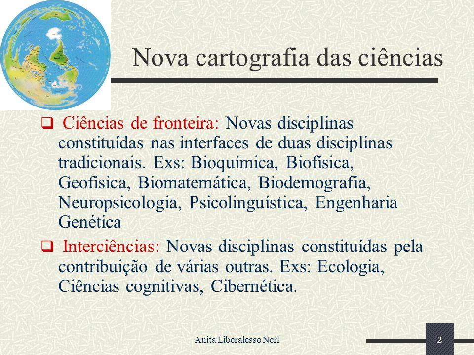 Anita Liberalesso Neri2 Nova cartografia das ciências Ciências de fronteira: Novas disciplinas constituídas nas interfaces de duas disciplinas tradicionais.