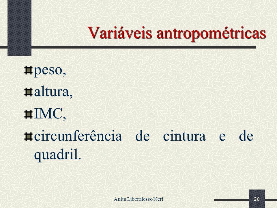Anita Liberalesso Neri20 Variáveis antropométricas peso, altura, IMC, circunferência de cintura e de quadril.
