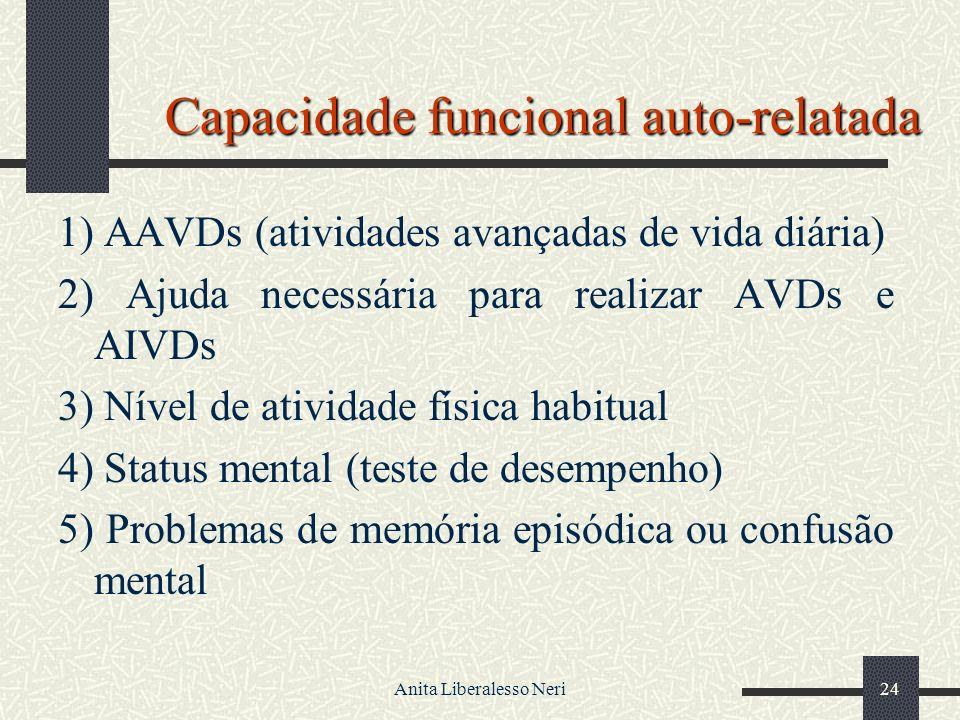 Anita Liberalesso Neri24 Capacidade funcional auto-relatada 1) AAVDs (atividades avançadas de vida diária) 2) Ajuda necessária para realizar AVDs e AIVDs 3) Nível de atividade física habitual 4) Status mental (teste de desempenho) 5) Problemas de memória episódica ou confusão mental