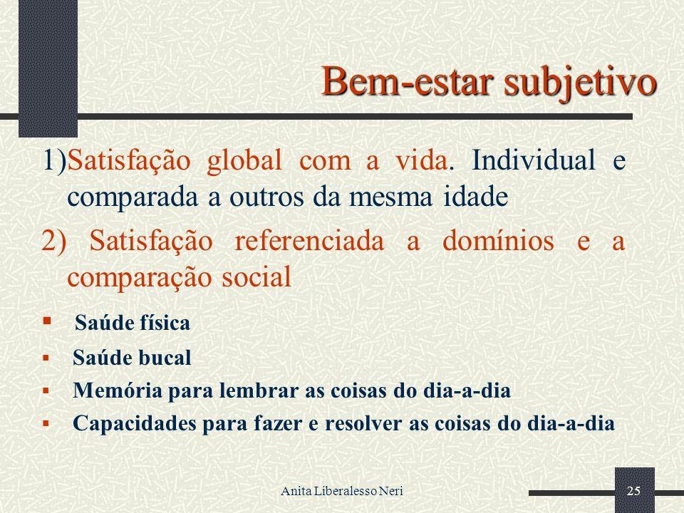 Anita Liberalesso Neri25 Bem-estar subjetivo 1)Satisfação global com a vida.