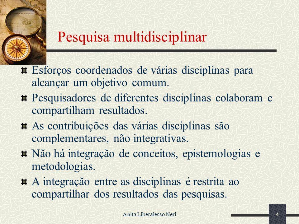 Anita Liberalesso Neri4 Pesquisa multidisciplinar Esforços coordenados de várias disciplinas para alcançar um objetivo comum.