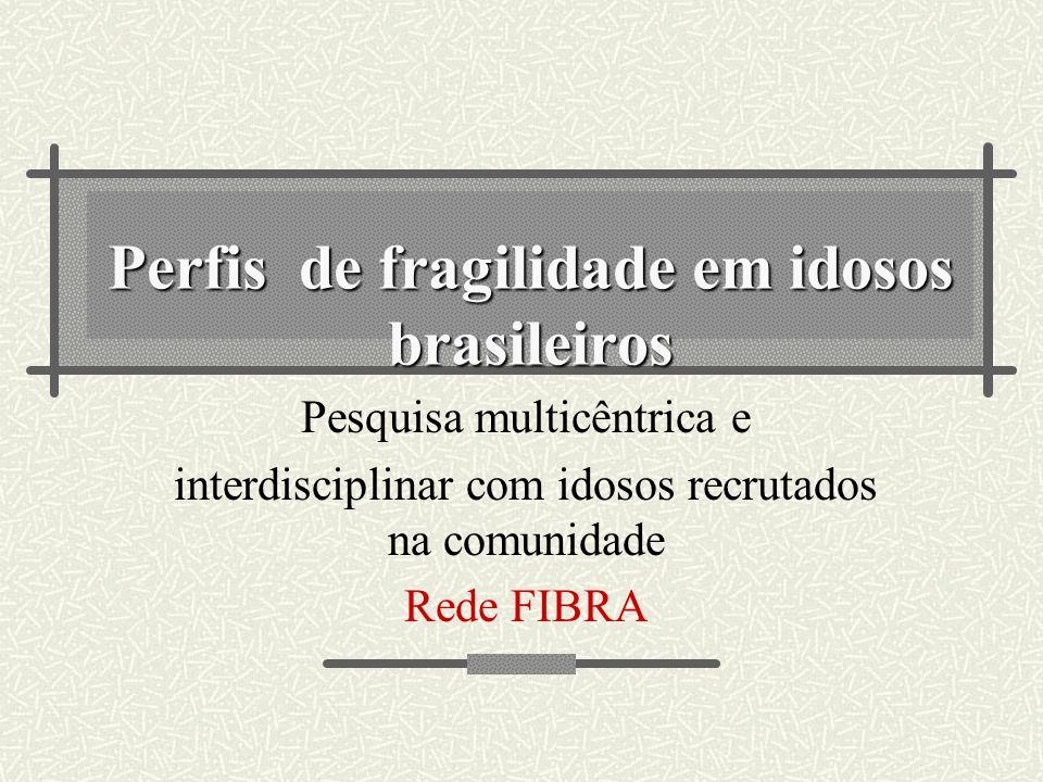 Perfis de fragilidade em idosos brasileiros Pesquisa multicêntrica e interdisciplinar com idosos recrutados na comunidade Rede FIBRA