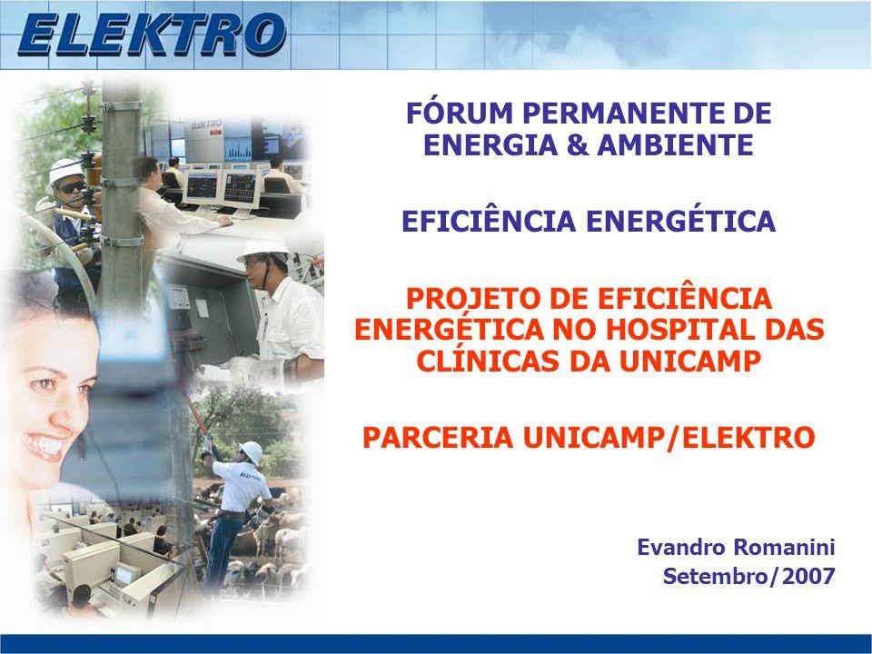 FÓRUM PERMANENTE DE ENERGIA & AMBIENTE EFICIÊNCIA ENERGÉTICA PROJETO DE EFICIÊNCIA ENERGÉTICA NO HOSPITAL DAS CLÍNICAS DA UNICAMP PARCERIA UNICAMP/ELE