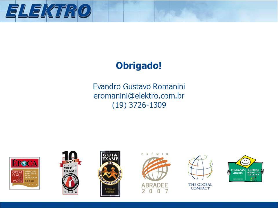 Obrigado! Evandro Gustavo Romanini eromanini@elektro.com.br (19) 3726-1309
