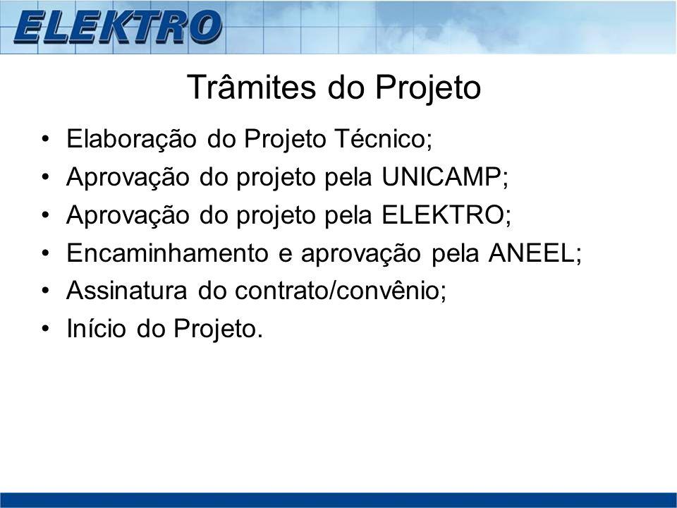 Trâmites do Projeto Elaboração do Projeto Técnico; Aprovação do projeto pela UNICAMP; Aprovação do projeto pela ELEKTRO; Encaminhamento e aprovação pe