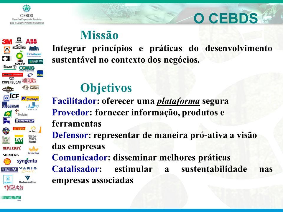 O CEBDS Missão Integrar princípios e práticas do desenvolvimento sustentável no contexto dos negócios. Objetivos Facilitador: oferecer uma plataforma