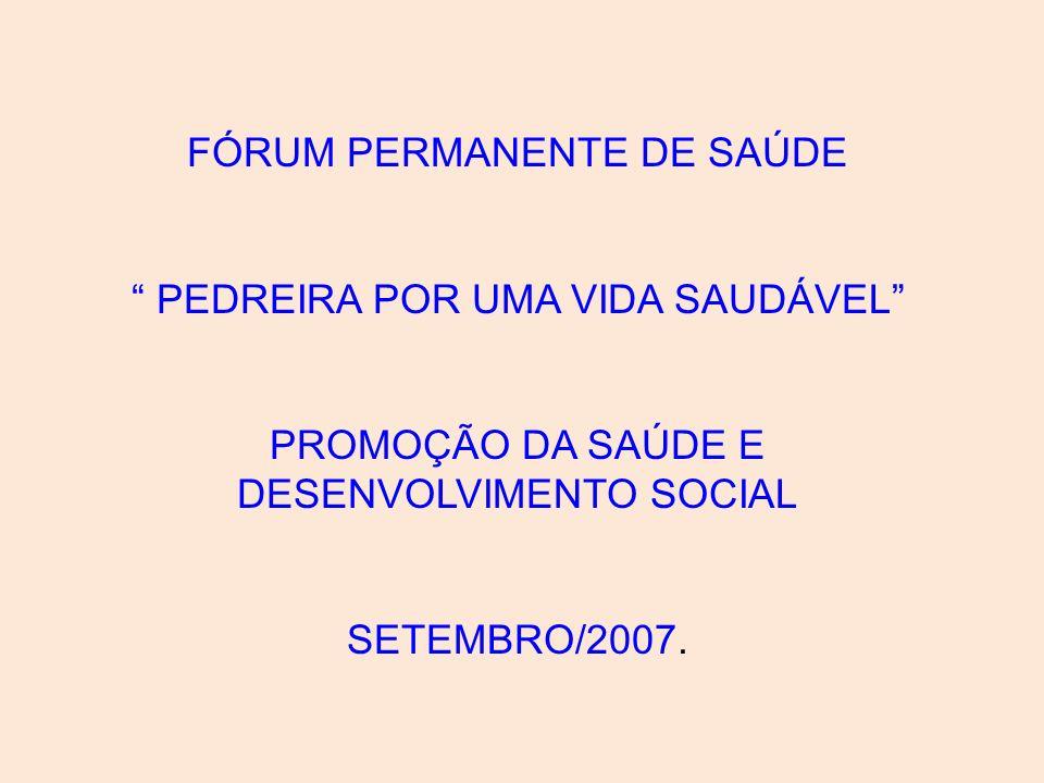 FÓRUM PERMANENTE DE SAÚDE PEDREIRA POR UMA VIDA SAUDÁVEL PROMOÇÃO DA SAÚDE E DESENVOLVIMENTO SOCIAL SETEMBRO/2007.