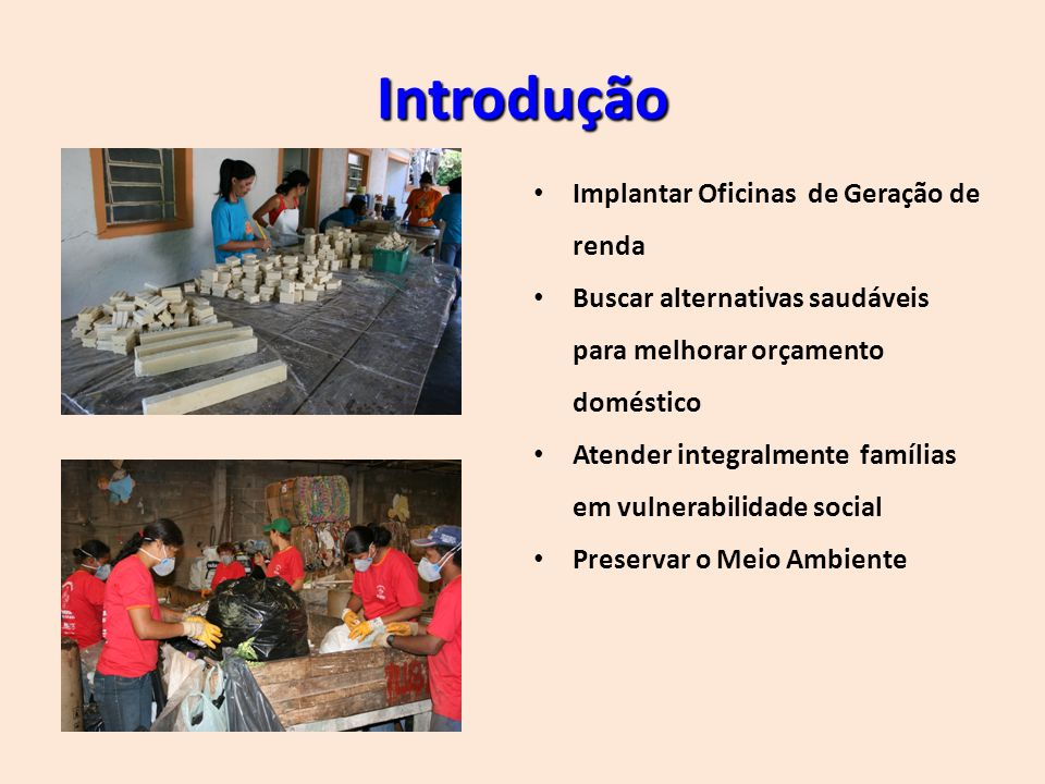 Objetivos: GERAL: INCLUSÃO SOCIAL ESPECÍFICOS: Favorecer a criação de grupos prestadores de serviço para inserção no mercado de trabalho; Encaminhar para atendimento médico, odontológico, procurando a Melhoria da QUALIDADE de Vida em Saúde; Recorte de Gênero: Mulher de baixa renda, Jovem em situação de risco social; Elevar a Renda Familiar; Reconquistar e Promover a Cidadania; Diminuir Impactos Ecológicos.