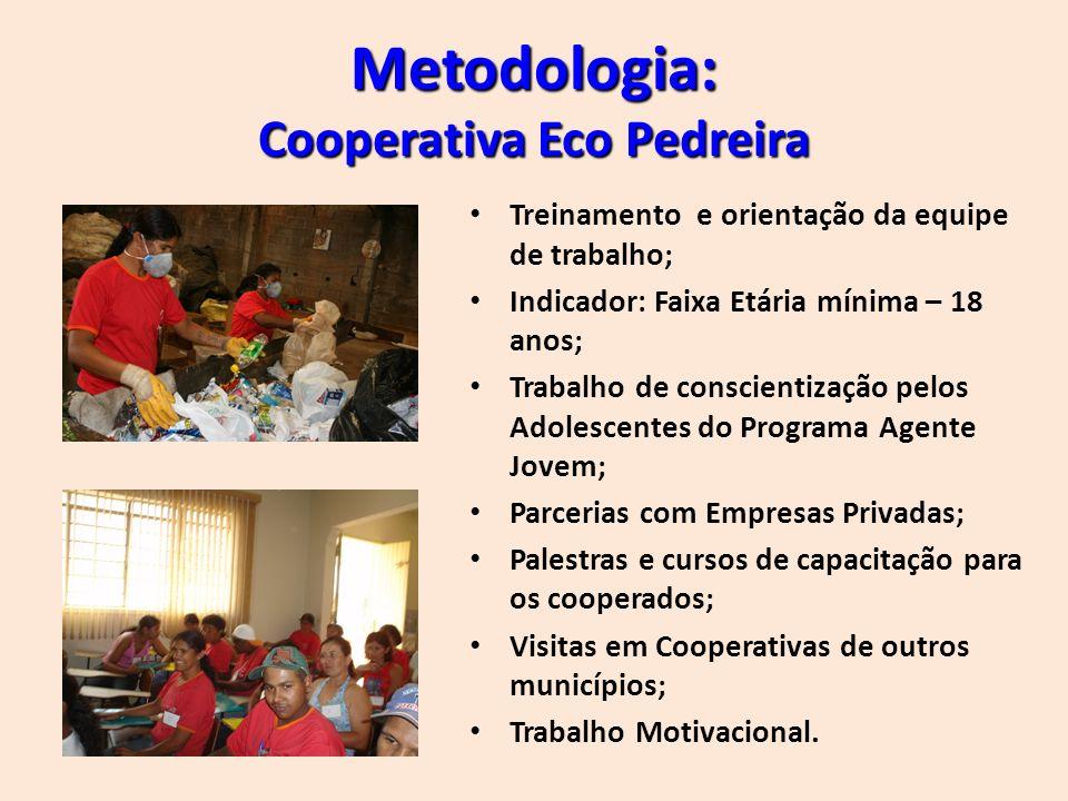Produtos e resultados: 20 Famílias atendidas integralmente; Meio Ambiente Preservado (Aproximadamente 41 toneladas de material reciclado mensalmente ); Mês de Agosto salário de R$ 630,00.