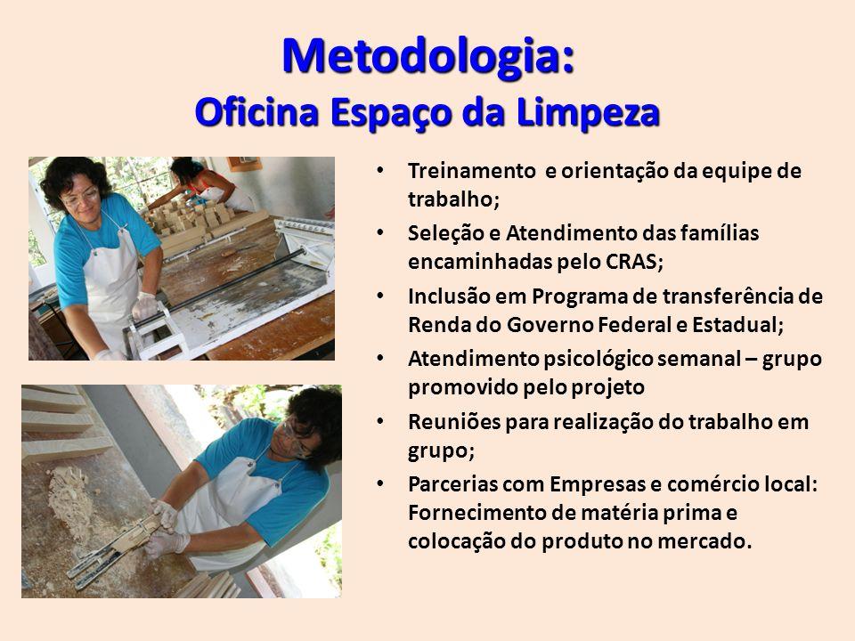Metodologia: Oficina Espaço da Limpeza Treinamento e orientação da equipe de trabalho; Seleção e Atendimento das famílias encaminhadas pelo CRAS; Incl