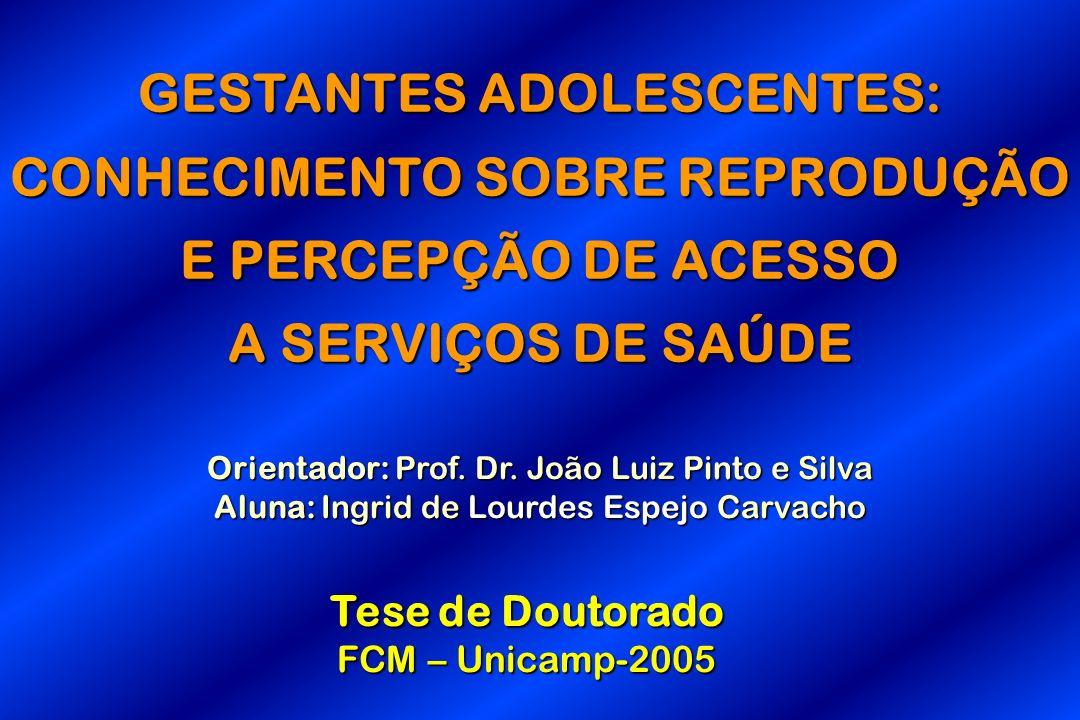 GESTANTES ADOLESCENTES: CONHECIMENTO SOBRE REPRODUÇÃO E PERCEPÇÃO DE ACESSO A SERVIÇOS DE SAÚDE Orientador: Prof. Dr. João Luiz Pinto e Silva Aluna: I