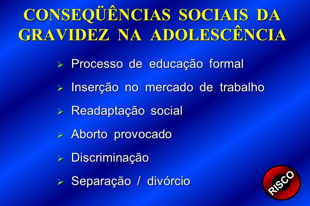 CONSEQÜÊNCIAS SOCIAIS DA GRAVIDEZ NA ADOLESCÊNCIA Processo de educação formal Processo de educação formal Inserção no mercado de trabalho Inserção no
