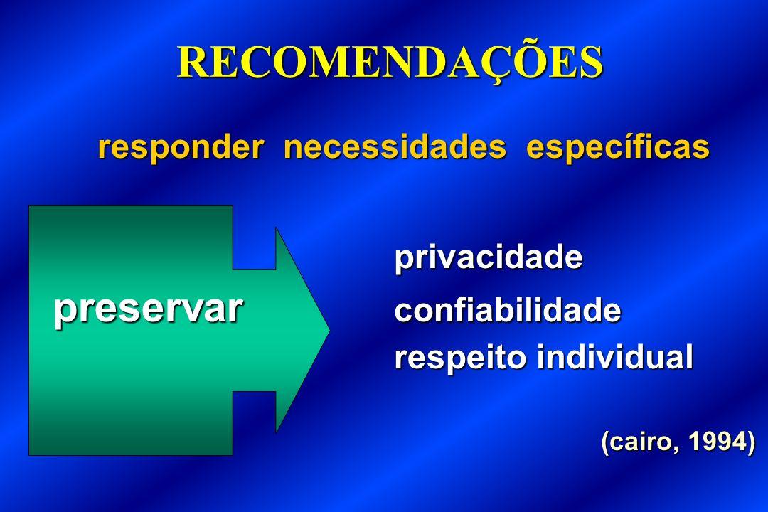 RECOMENDAÇÕES responder necessidades específicas privacidade preservar confiabilidade respeito individual respeito individual (cairo, 1994)