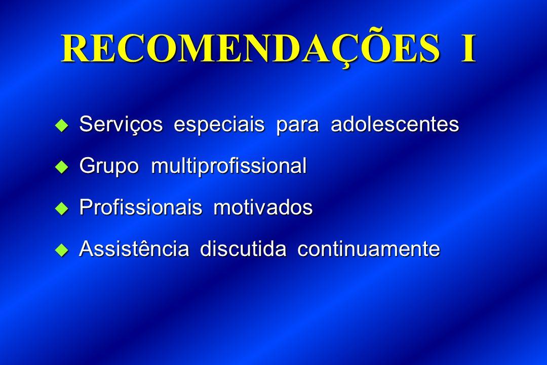 RECOMENDAÇÕES I Serviços especiais para adolescentes Serviços especiais para adolescentes Grupo multiprofissional Grupo multiprofissional Profissionai