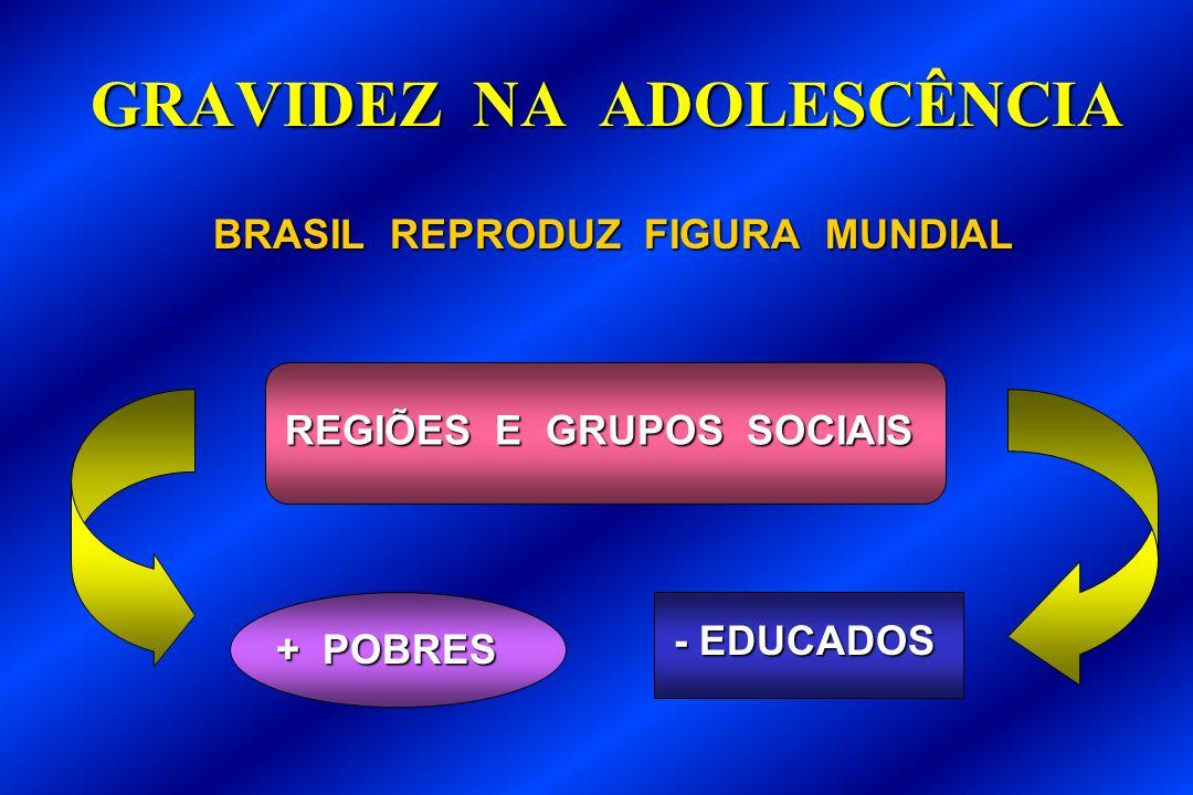 GRAVIDEZ NA ADOLESCÊNCIA BRASIL REPRODUZ FIGURA MUNDIAL BRASIL REPRODUZ FIGURA MUNDIAL + POBRES - EDUCADOS REGIÕES E GRUPOS SOCIAIS