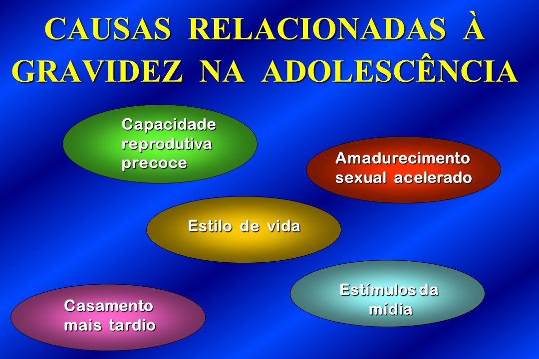 Estilo de vida Casamento mais tardio Capacidadereprodutivaprecoce Estímulos da mídia CAUSAS RELACIONADAS À GRAVIDEZ NA ADOLESCÊNCIA Amadurecimento sex