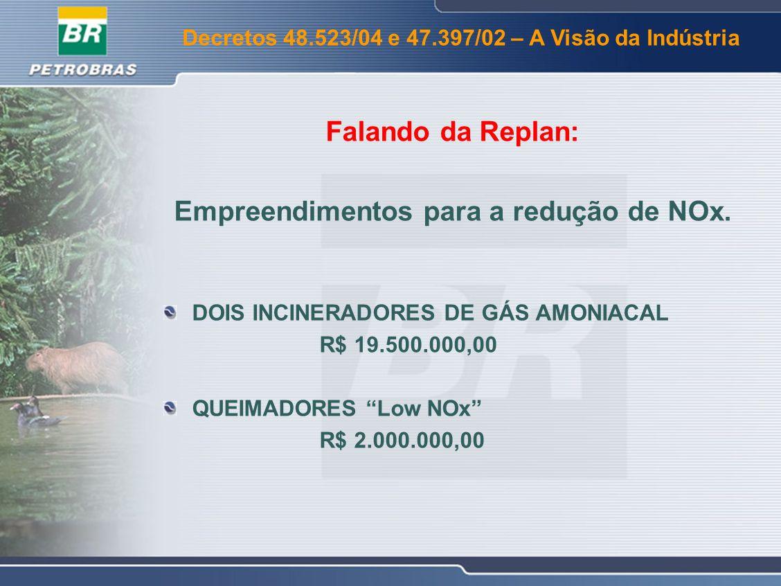 Decretos 48.523/04 e 47.397/02 – A Visão da Indústria Empreendimentos para a redução de Material Particulado Instalação do Terceiro Estágio de Ciclones na U-220A Investimento: R$ 11.500.000,00