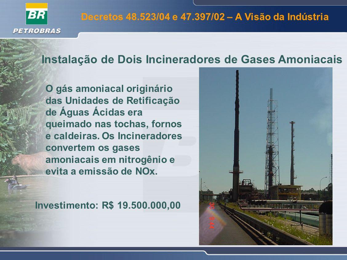 Decretos 48.523/04 e 47.397/02 – A Visão da Indústria Instalação do Terceiro Estágio de Ciclones na U-220A CETESB exigiu emissão de materiais particulados de no máximo 37,33 kg/h.