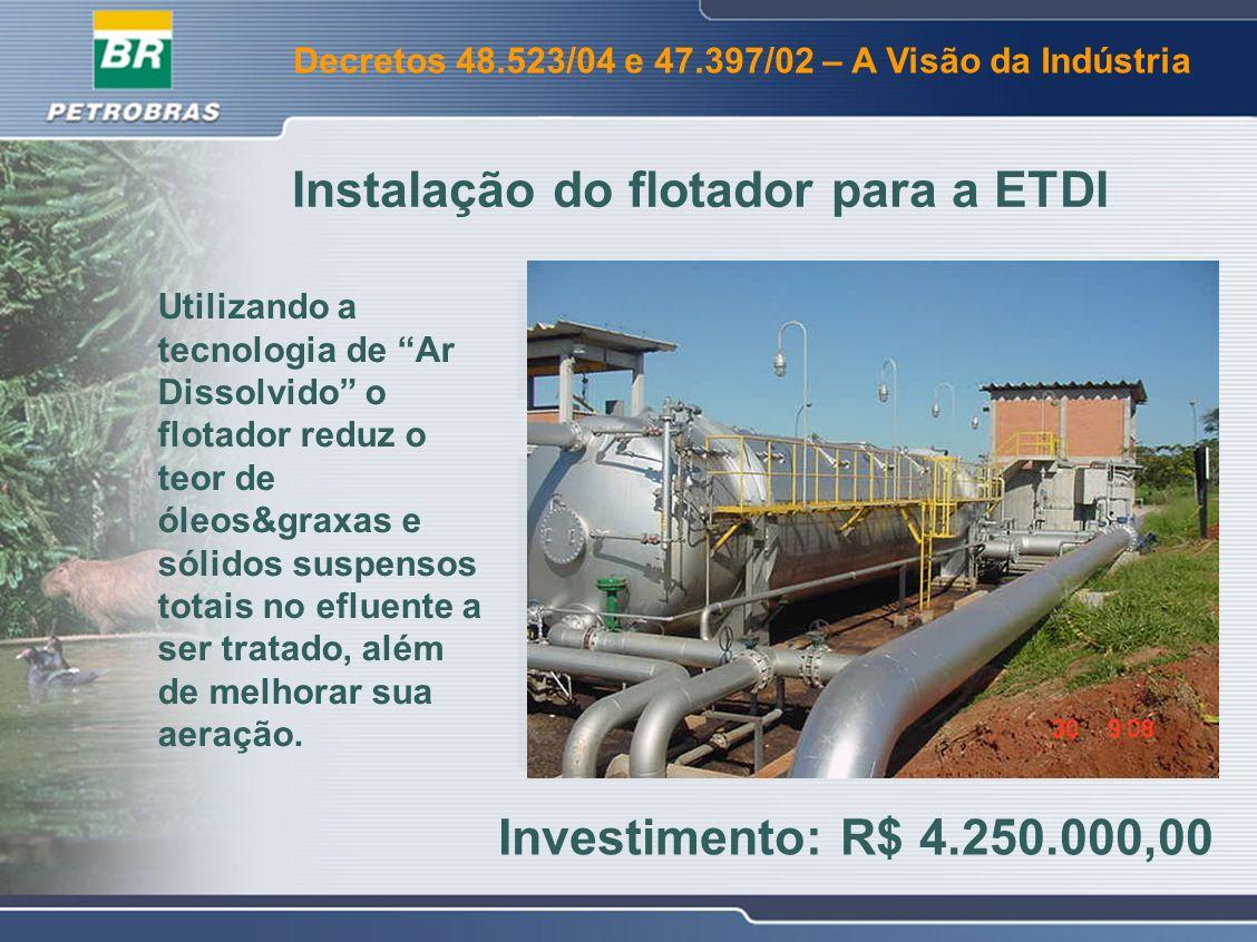 Decretos 48.523/04 e 47.397/02 – A Visão da Indústria Dois tanques de petróleo foram adaptados para o recebimento do efluente das dessalgadoras (salmoura) evitando envio direto para ETDI.