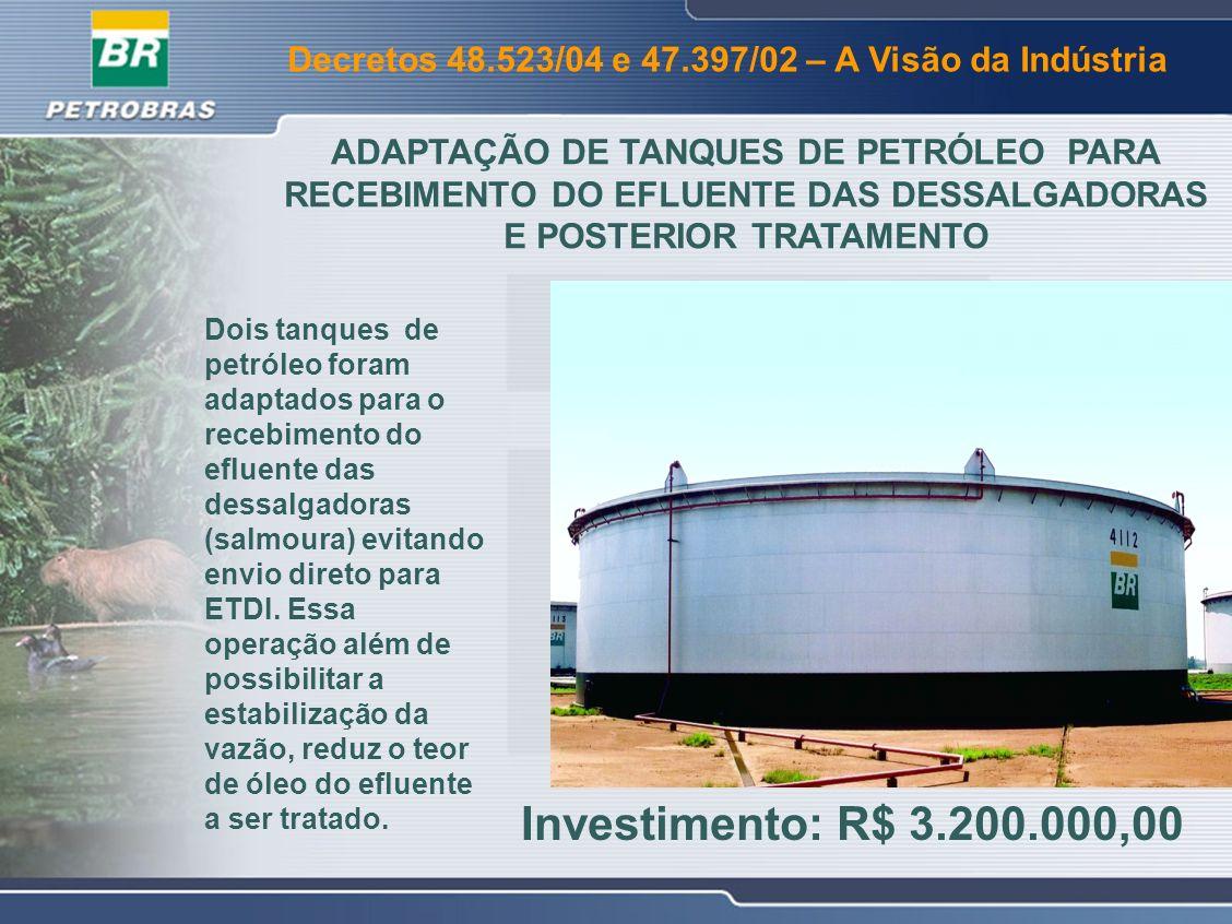 Decretos 48.523/04 e 47.397/02 – A Visão da Indústria A adaptação dos tanques de petróleo, permitiu a desativação da Bacia de Águas Oleosas que passou a ser utilizada para armazenamento temporário do excesso de água de chuva.