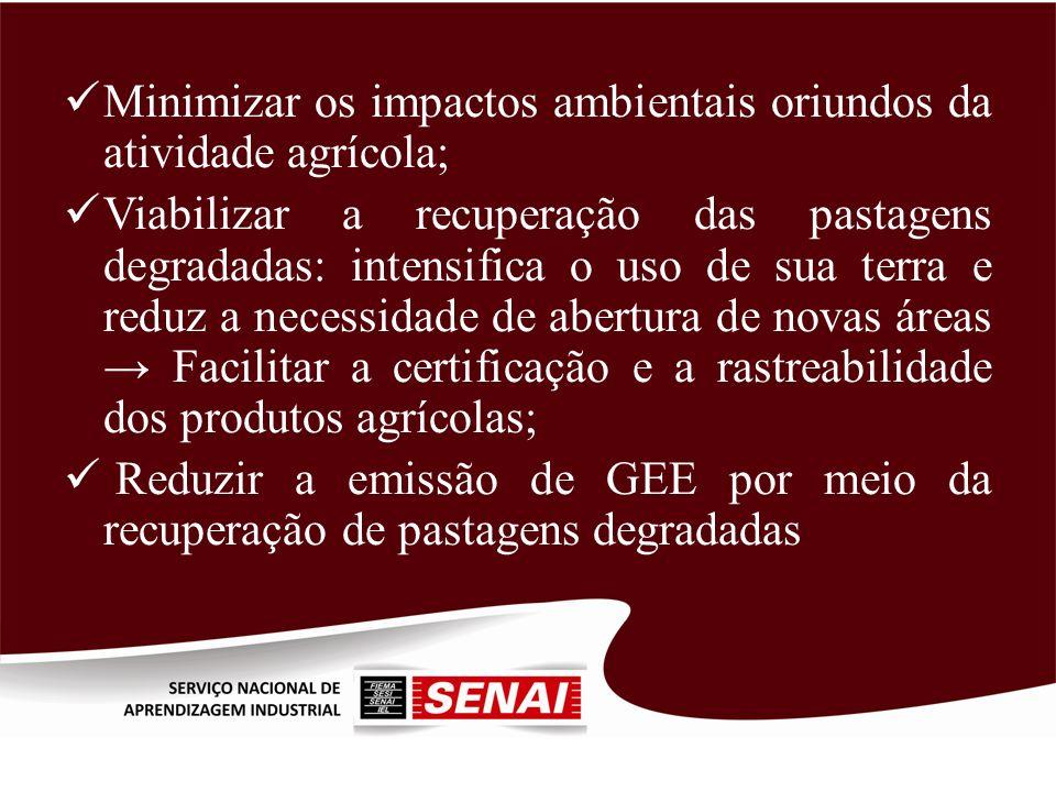 Minimizar os impactos ambientais oriundos da atividade agrícola; Viabilizar a recuperação das pastagens degradadas: intensifica o uso de sua terra e r