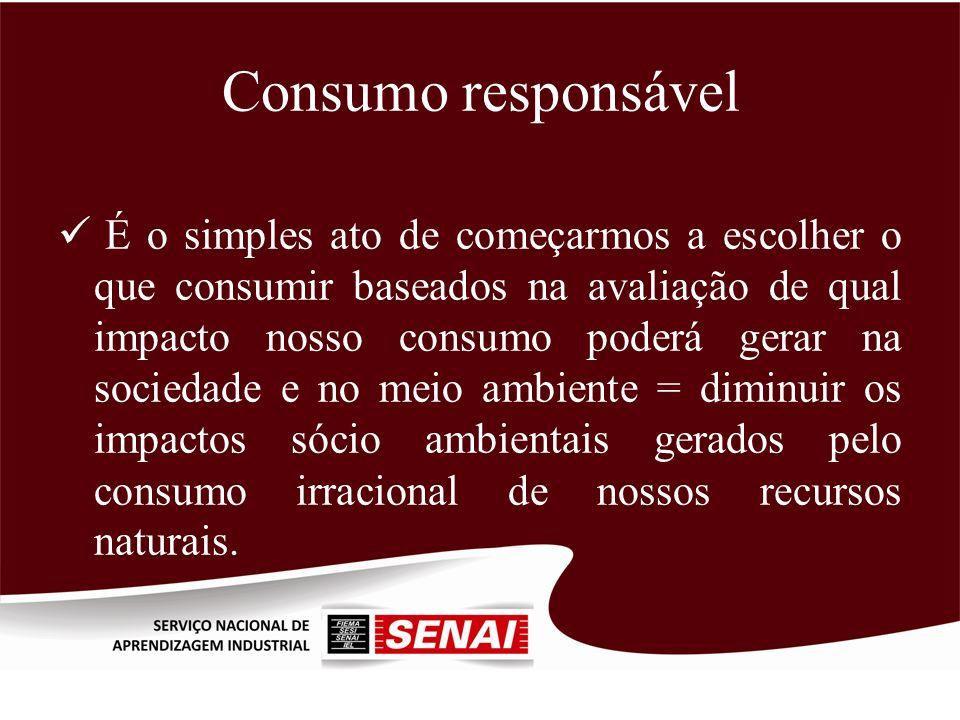 Consumo responsável É o simples ato de começarmos a escolher o que consumir baseados na avaliação de qual impacto nosso consumo poderá gerar na socied