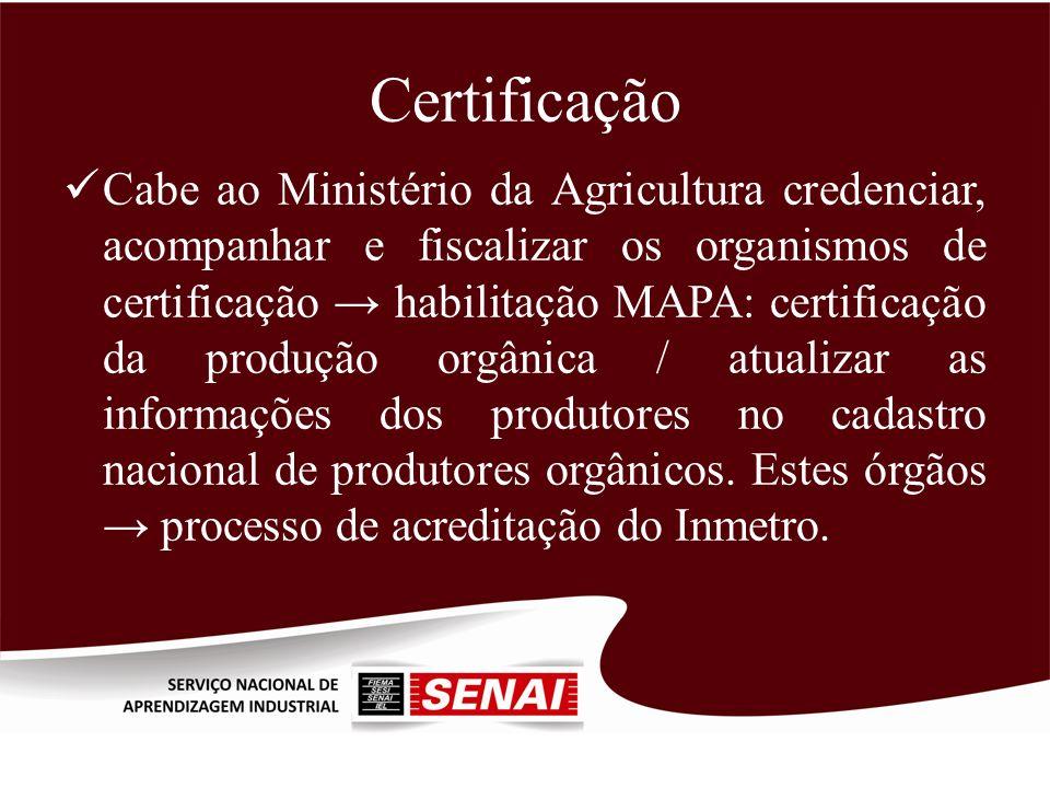 Certificação Cabe ao Ministério da Agricultura credenciar, acompanhar e fiscalizar os organismos de certificação habilitação MAPA: certificação da pro