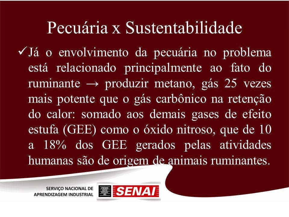 Pecuária x Sustentabilidade Já o envolvimento da pecuária no problema está relacionado principalmente ao fato do ruminante produzir metano, gás 25 vez