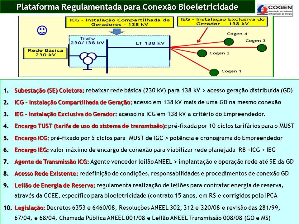 Plataforma Regulamentada para Conexão Bioeletricidade 1.Subestação (SE) Coletora: 1.Subestação (SE) Coletora: rebaixar rede básica (230 kV) para 138 k
