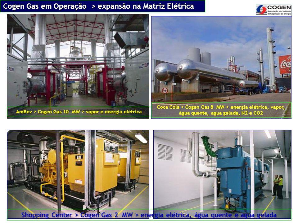 Cogen Gas em Operação > expansão na Matriz Elétrica AmBev > Cogen Gas 10 MW > vapor e energia elétrica Coca Cola > Cogen Gas 8 MW > energia elétrica,