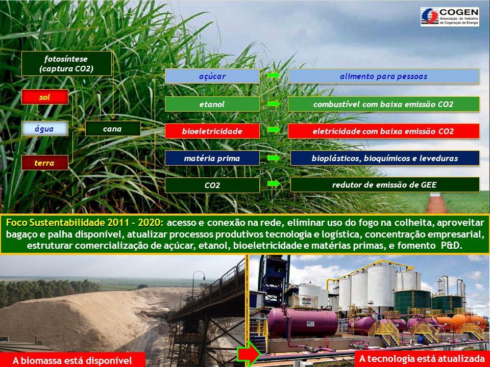 Cana Verde Moendas Eletrificadas Etanol Bagaço Caldeira Turbo Gerador Transformador Açúcar Bioeletricidade Lay Out do Processo Produtivo: Indústria da Cana de Açúcar Bioeletricidade: cada 1.000 MWmédios ofertado no Sudeste/Centro Oeste equivale + 4,7% de armaezenamento > fator de complementaridade (ONS)