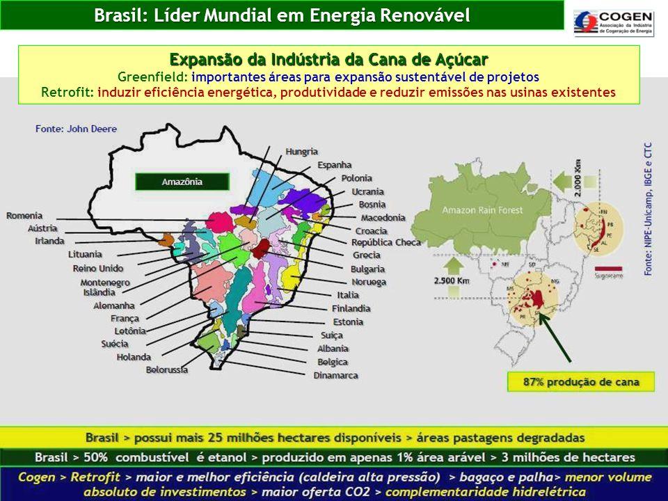 Brasil: Líder Mundial em Energia Renovável Expansão da Indústria da Cana de Açúcar Greenfield: importantes áreas para expansão sustentável de projetos