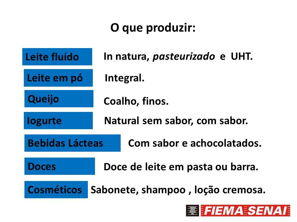 O que produzir: Leite fluído In natura, pasteurizado e UHT. Leite em pó Queijo Iogurte Bebidas Lácteas Doces Cosméticos Integral. Coalho, finos. Natur