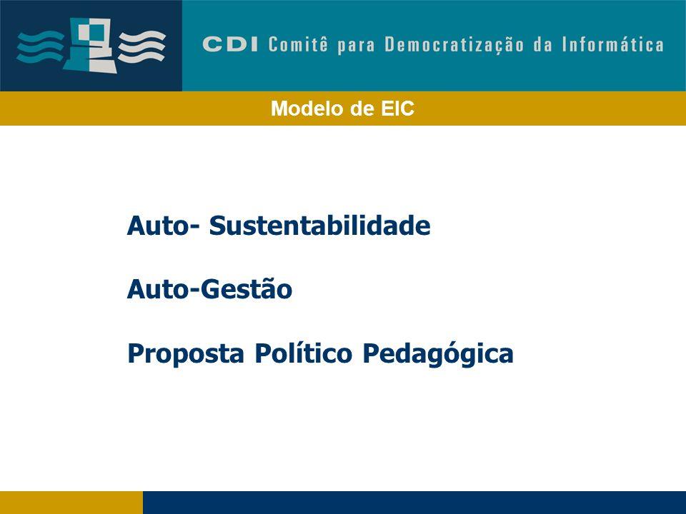 Modelo de EIC Auto- Sustentabilidade Auto-Gestão Proposta Político Pedagógica
