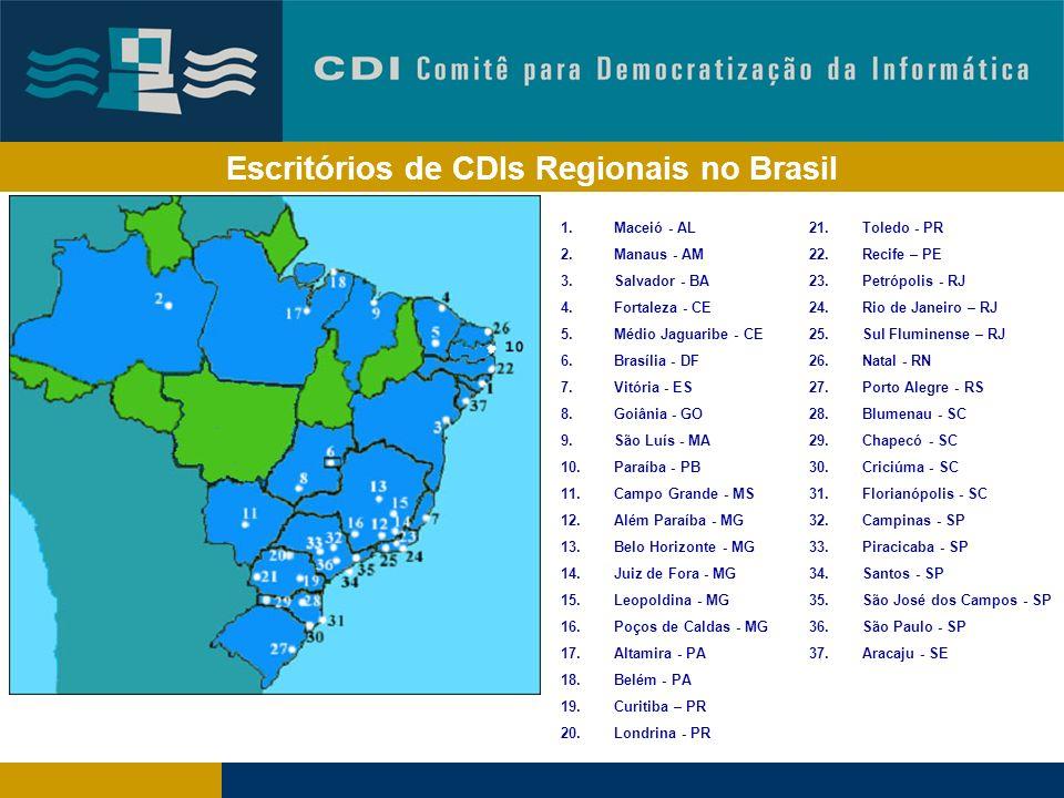 Levando TICs para comunidades de baixa renda CDI Matriz CDI Regional CDI Regional CDI Regional CDI Regional CDI Regional CDI Regional CDI Regional CDI