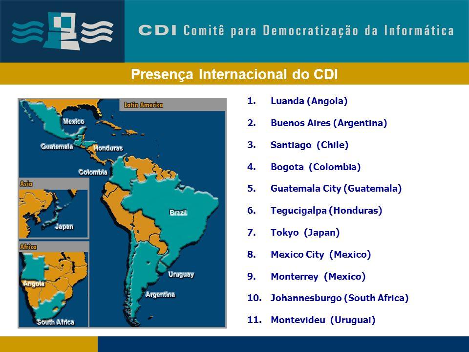 Presença Internacional do CDI 1.Luanda (Angola) 2.Buenos Aires (Argentina) 3.Santiago (Chile) 4.Bogota (Colombia) 5.Guatemala City (Guatemala) 6.Tegucigalpa (Honduras) 7.Tokyo (Japan) 8.Mexico City (Mexico) 9.Monterrey (Mexico) 10.Johannesburgo (South Africa) 11.Montevideu (Uruguai)