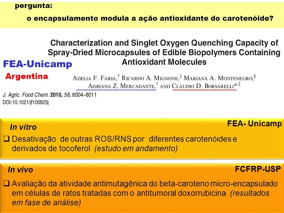 Desativação de outras ROS/RNS por diferentes carotenóides e derivados de tocoferol (estudo em andamento) In vitro In vivo pergunta: o encapsulamento m