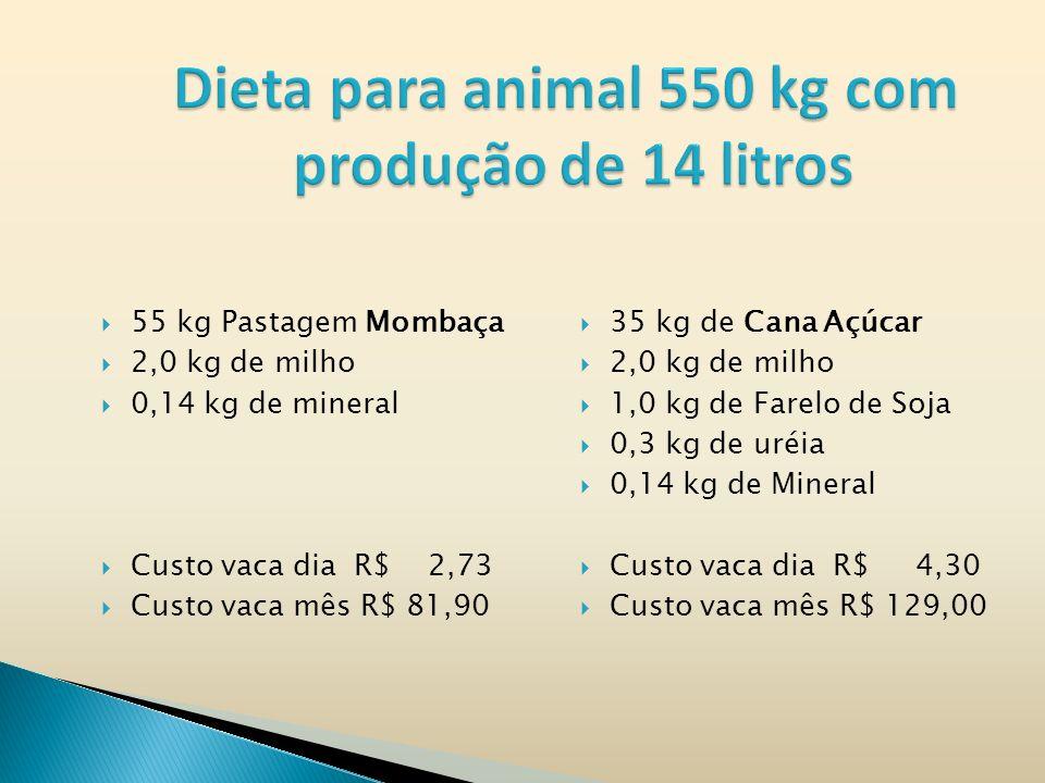 55 kg Pastagem Mombaça 2,0 kg de milho 0,14 kg de mineral Custo vaca dia R$ 2,73 Custo vaca mês R$ 81,90 35 kg de Cana Açúcar 2,0 kg de milho 1,0 kg de Farelo de Soja 0,3 kg de uréia 0,14 kg de Mineral Custo vaca dia R$ 4,30 Custo vaca mês R$ 129,00