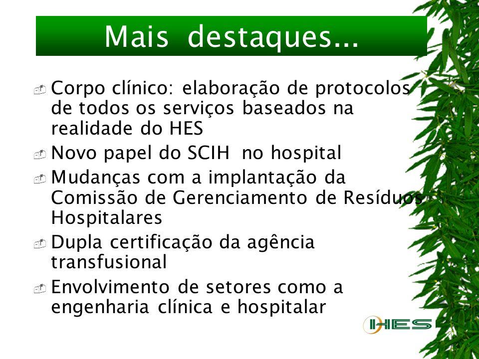 Destaques Sistema de custos hospitalares Indicadores de qualidade – S.E.S. Hospital Amigo da Criança Enfermagem: impulso para a implantação da sistema