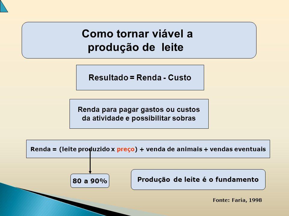 Renda para pagar gastos ou custos da atividade e possibilitar sobras Renda = (leite produzido x preço) + venda de animais + vendas eventuais 80 a 90%