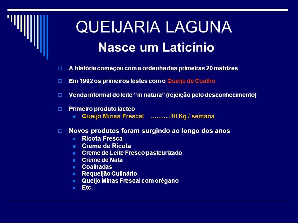 QUEIJARIA LAGUNA Nasce um Laticínio A história começou com a ordenha das primeiras 20 matrizes Em 1992 os primeiros testes com o Queijo de Coalho Vend