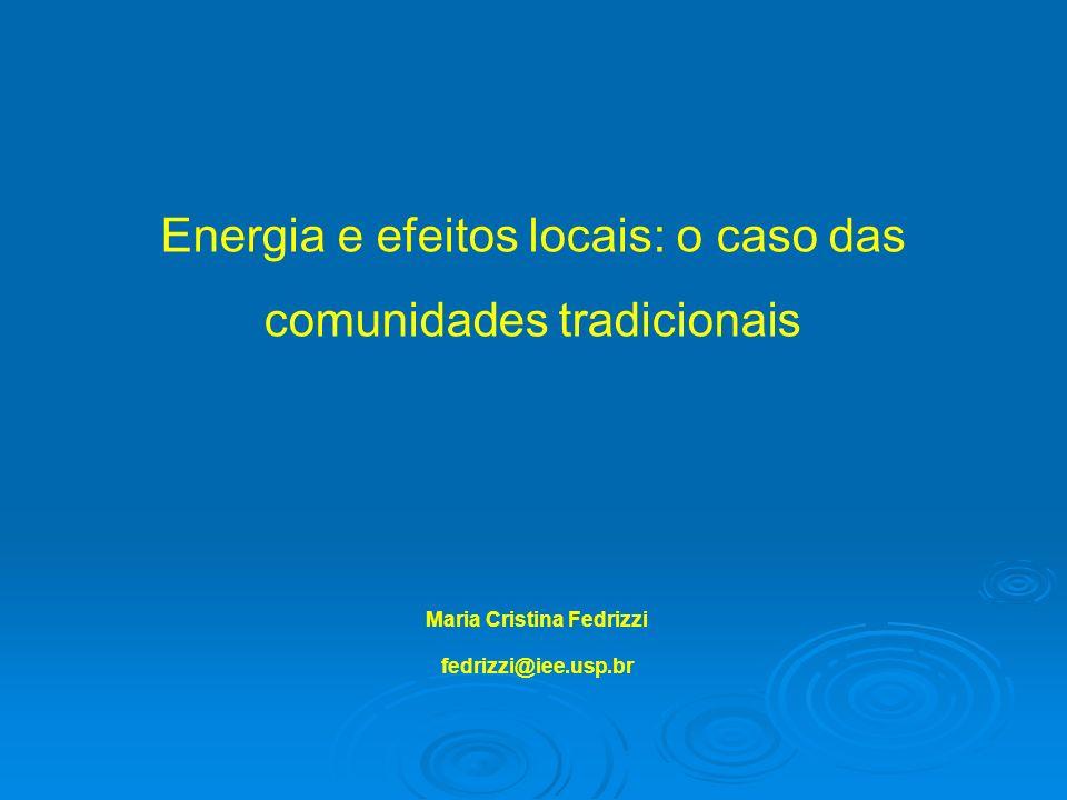 Energia e efeitos locais: o caso das comunidades tradicionais Maria Cristina Fedrizzi fedrizzi@iee.usp.br
