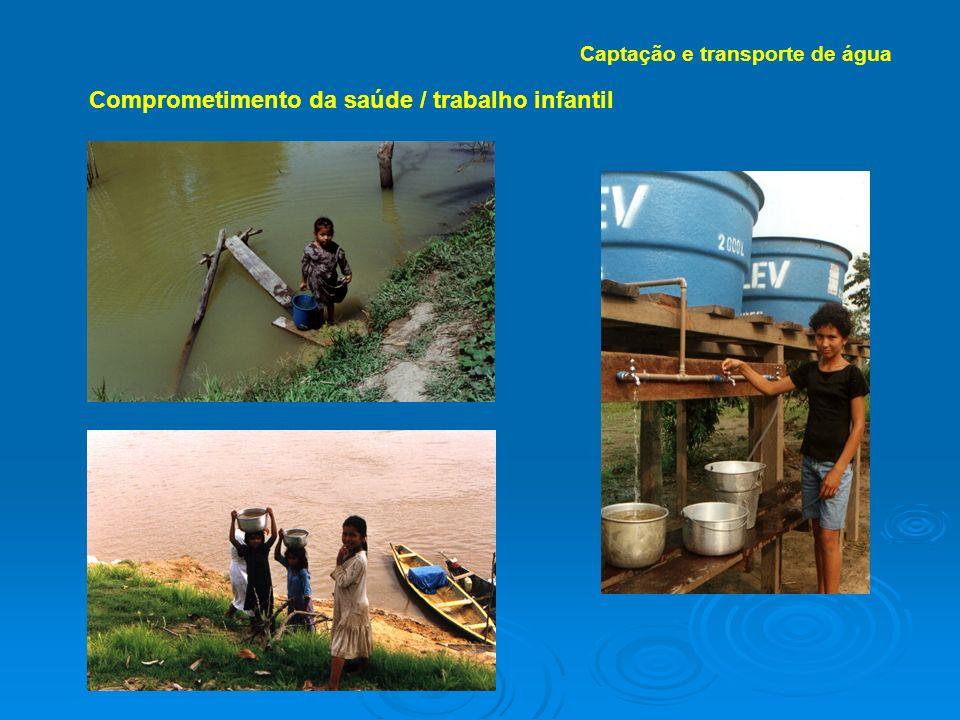 Comprometimento da saúde / trabalho infantil Captação e transporte de água