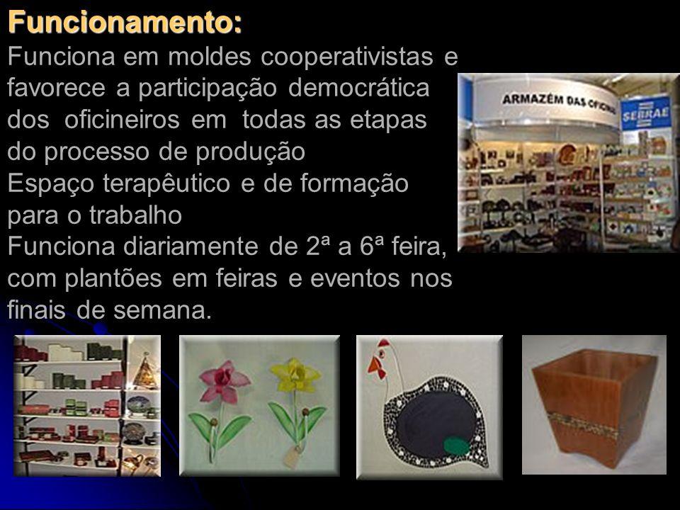 Funcionamento: Funcionamento: Funciona em moldes cooperativistas e favorece a participação democrática dos oficineiros em todas as etapas do processo
