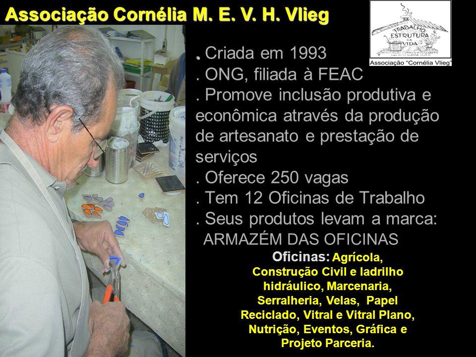 .. Criada em 1993. ONG, filiada à FEAC. Promove inclusão produtiva e econômica através da produção de artesanato e prestação de serviços. Oferece 250